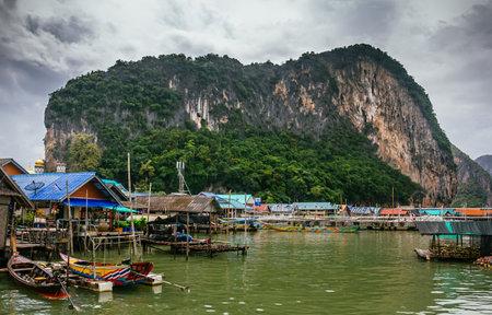 panyi: Floating Koh Panyi settlement muslim fishing village built on stilts. Phang Nga Bay, Krabi, Thailand. Editorial