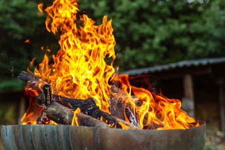 Wood fire prepared for barbecue. Flames and Burning coals