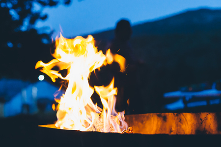 combustion: Flames of a bonfire in the night