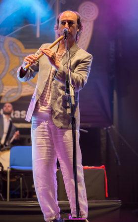bagpipe: Lubian, Spain - August 06, 2016: Carlos Nunez Performs At Festival folk rock Nas Portelas in Lubian, Zamora, Spain. Editorial