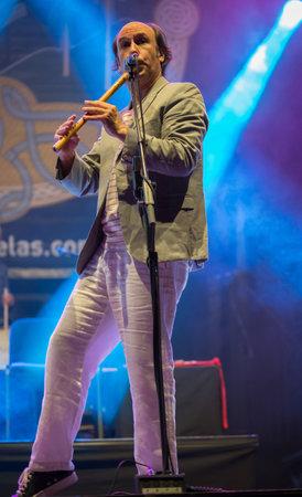 Lubian, Spain - August 06, 2016: Carlos Nunez Performs At Festival folk rock Nas Portelas in Lubian, Zamora, Spain. Editorial