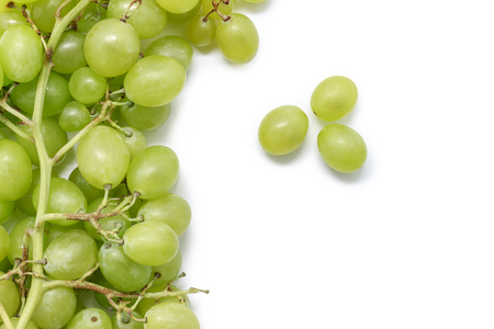Bunch of green grapes isolated white background with copy space.