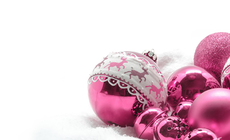 pink christmas: Pink Christmas balls. Winter concept. Merry christmas card. Space for text Stock Photo