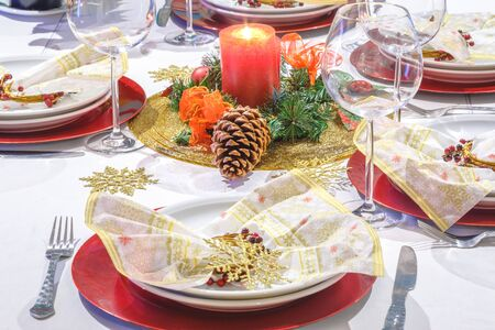 grunge cutlery: Close up of Festive dinner setting for the holidays