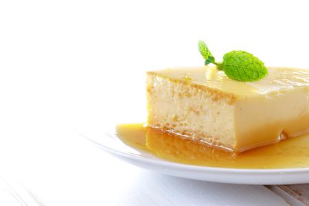 Delicious homemade Panna cotta dessert. Creme caramel, Caramel custard, Custard pudding, Flan. Stock Photo