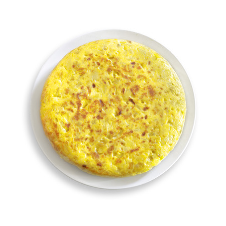 Homemade Spanish tortilla isolated on white background.