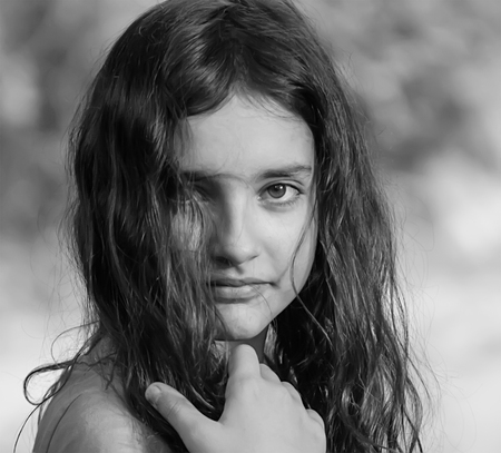 Portrait of a beautiful girl black and white photography stock photo 75172417