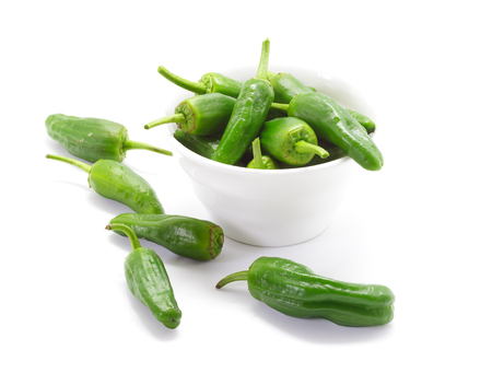 Traditional Spanish green peppers. Padron peppers.