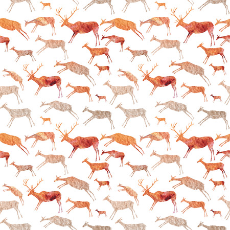 Cave Painting Seamless Pattern. Animals with watercolor texture.