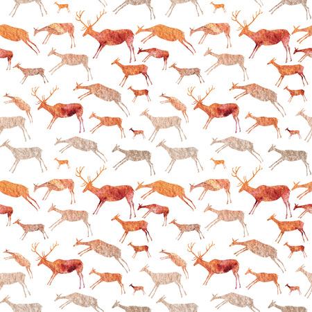 Grotschildering Naadloos Patroon. Dieren met aquarel textuur.