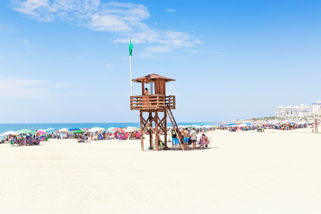 Tourism in spain. View of beach in Rota, Cadiz, Spain.