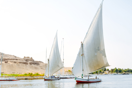 Fellucas, traditional wooden sailboat on Nile, Egypt.