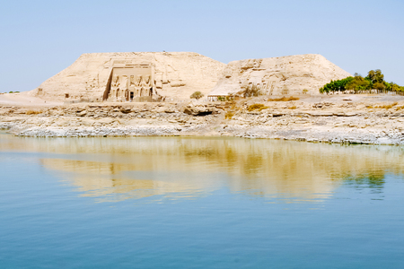 The Great Temple of Ramesses II view from Lake Nasser, Abu Simbel, Egypt
