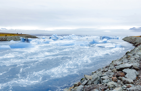 frozen lake: Beautiful view of icebergs in Jokulsarlon glacier lagoon, Iceland.