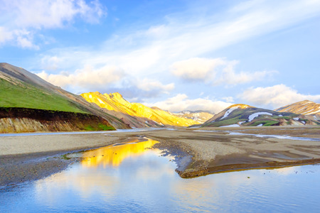 The picturesque sunrise over mountains. Landmannalaugar. Fjallabak Nature Reserve. Iceland