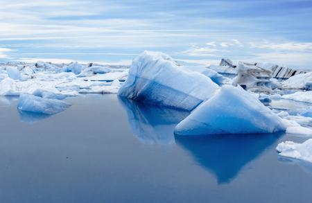 Big blue icebergs in Jokulsarlon glacial lagoon. Iceland.