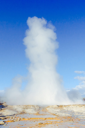 Eruption of Strokkur geyser in Iceland.