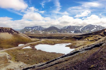 Wonderful Icelandic landscape with mountains, sky and clouds. Fjallabak Nature Reserve. Landmannalaugar.
