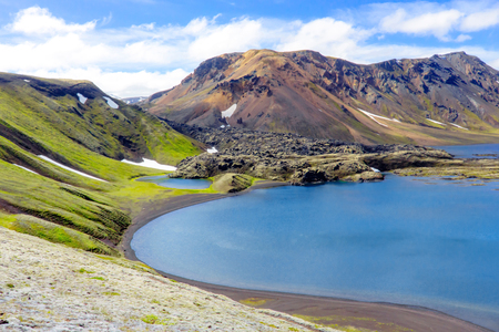 The Ljotipollur crater lake is situated in the Fjallabak Nature Reserve area northeast of Landmannalaugar. The Ljotipollur is a explosion crater lake in the south highlands, situated in the southernmost crater in the Veidivotn fissure system. Stock Photo