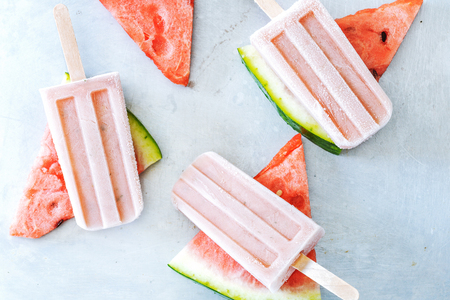 Natural watermelon juice popsicles. Healthy summer dessert.