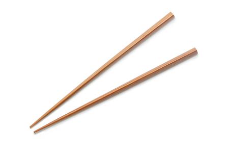 Wooden Chopsticks isolated on white background. Standard-Bild