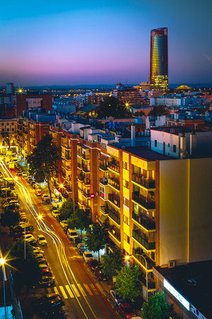 Pelli Tower at night. View from the traditional neighborhood of Triana in Seville, Spain.