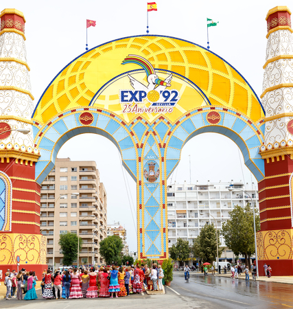 Seville, Spain - May 03, 2017: People singing and dancing at the Seville's April Fair.  Feria de Abril (The April Fair).