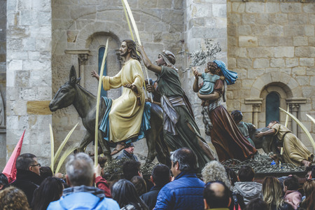Zamora, Spain - March 25, 2018: Jesus Christ riding on a donkey on palm sunday (easter week). Typical of Easter, Holy Week in Spain. Holy Week in Zamora, Spain, is the annual commemoration of the Passion of Jesus Christ that takes place during the last we