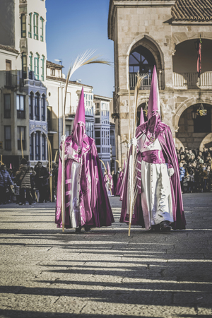 Zamora, Spain - March 25, 2018: Procession during the Holy Week in Zamora, Spain.  Holy Week in Zamora, Spain (easter week) is the annual commemoration of the Passion of Jesus Christ.