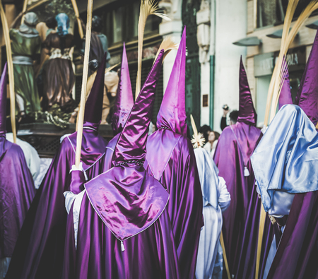 Procession during the Holy Week in Zamora, Spain. Banco de Imagens