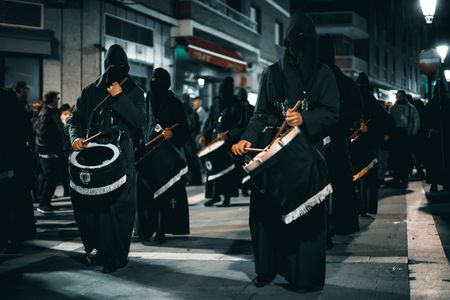 Zamora, Spain - March 31, 2018: Drummers during holy week (semana santa) in Zamora, Spain. Procession of the Virgin of Solitude. The Brotherhood of Jesus Nazareno. Procession in the Holy Week of the city, on the afternoon of Holy Saturday