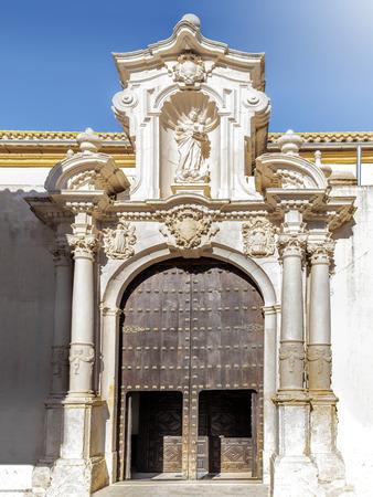 Church of San Sebastian (Side door) in Estepa, province of Seville. Standard-Bild - 121821048