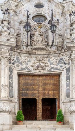 Impressive Baroque facade of the church of Ntra. Sra. del Carmen in Estepa, province of Seville. Standard-Bild - 121821052