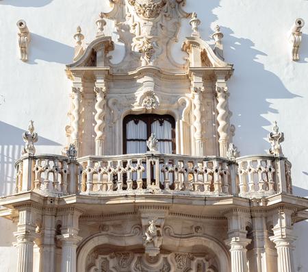 Beautiful baroque balcony of the Marques de la Gomera Palace in Osuna. Standard-Bild - 121821063