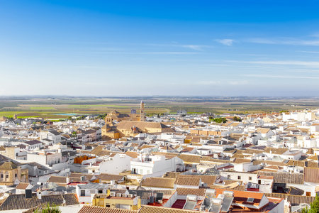 View of the ducal town of Osuna. Declared a Historic-Artistic Site. Standard-Bild - 121821067