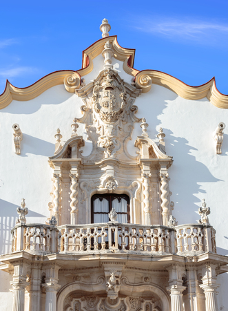 Baroque facade of the Marques de la Gomera Palace in Osuna. Standard-Bild - 121821066