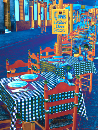 Street cafe europe city photo painting abstract Standard-Bild - 123093796