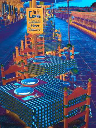 Street cafe europe city photo painting abstract Standard-Bild - 123093792