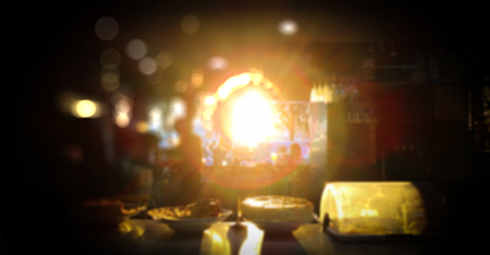 Blur cafe restaurant with abstract bokeh light image Standard-Bild - 123093797