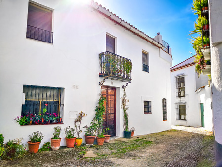 Beautiful Street in Cortelazor, Sierra de Aracena, province of Huelva. Charming white village in Andalusia. Picturesque travel destination on Spain. Standard-Bild - 123093802