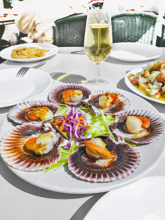 Grilled Galician Scallops, seafood salad and white wine on white