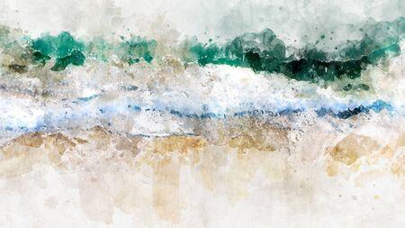 Abstrakte Aquarell ozeanblaue Meereswelle. Kreativer abstrakter gemalter Hintergrund, Tapete, Beschaffenheit. Moderne Kunst. Zeitgenössische Kunst. Standard-Bild
