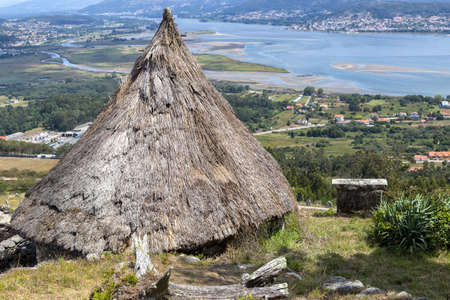 Ruins Of Ancient Celtic Village In Santa Tecla. Pontevedra. Tourism in Galicia. The most beautiful spots in Spain.