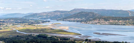 Mouth of the Miño river from Ancient Celtic Village In Santa Tecla. Pontevedra. Tourism in Galicia. The most beautiful spots in Spain. Stock Photo - 150943468