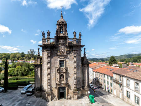 Santiago de Compostela, Spain - August 20 2019: Santiago de Compostela, Spain - August 20 2019: Church of San Fructuoso. The Chapel of Las Angustias (now Parish Church of San Fructuoso) was the work of Lucas Antonio Ferro Caaveiro and was built between 17