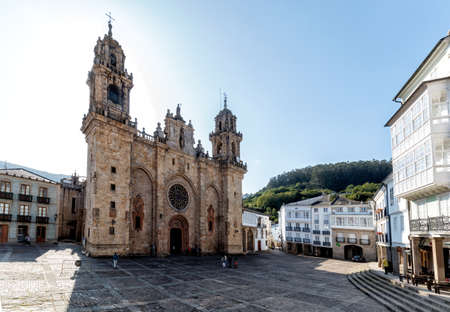 Mondo?edo, Spain - August 21 2019: Mondo?edo Cathedral. The Cathedral of Mondo? ? edo is the Roman Catholic cathedral in the town of Mondo? ? edo, region of Galicia, Spain