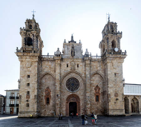 Mondo?edo, Spain - August 21 2019: Mondo? ? edo Cathedral. The Cathedral of Mondo? ? edo is the Roman Catholic cathedral in the town of Mondo? ? edo, region of Galicia, Spain Editorial