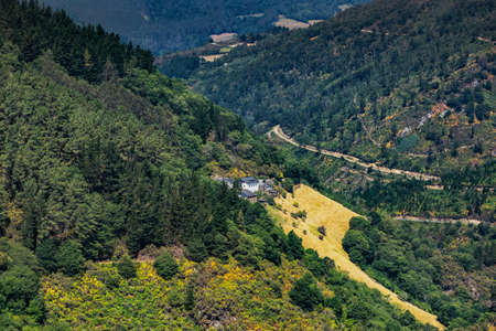 Mountain landscape in Los Oscos, Asturias. Biosphere Reserve located on the border of Asturias and Galicia in the northwest region of Spain. Stock Photo