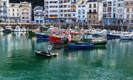 Luarca, Spain - August 23 2019: Colorful Fishery Harbor. Luarca. Asturias. Luarca is well known for its beautiful architecture, landscapes, gastronomy and tourist attractions. Stock Photo - 152054189