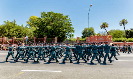 Seville, Spain - June 01, 2019: Units of the Spanish Civil Guard during display of Spanish Armed Forces Day in Seville, Spain